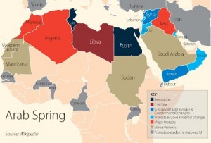 Map of Arab Spring countries